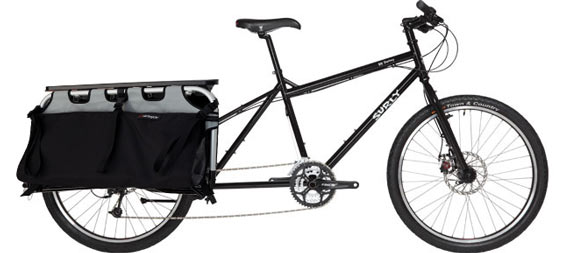 The Surly Big Dummy with Xtracycle accessories attached.