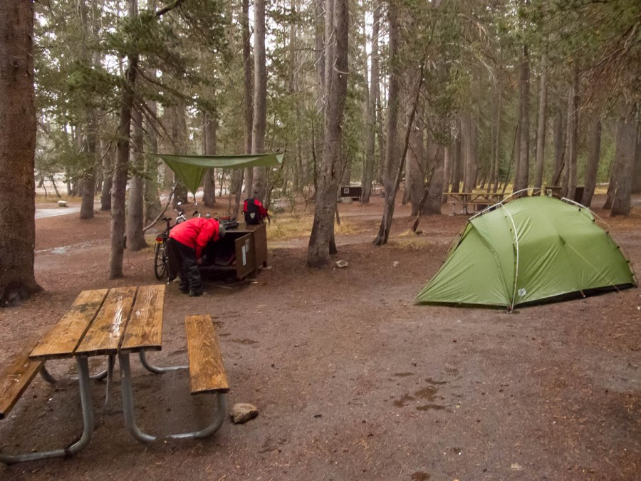 very wet and cold weather at a deserted (closed) White Wolf campground