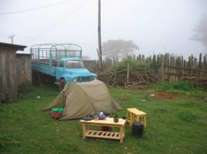 improvised camp at a local villag