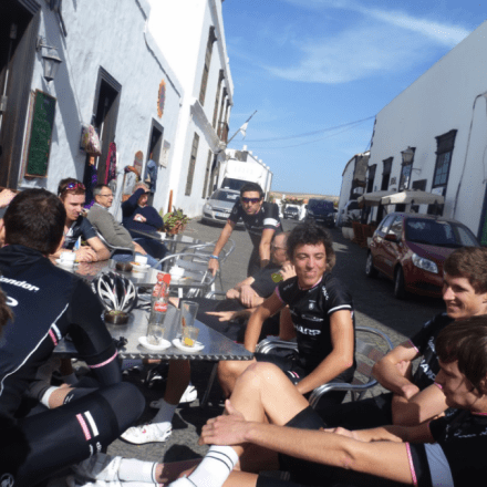 Coffee stop in the Spanish sun this morning after a recovery spin