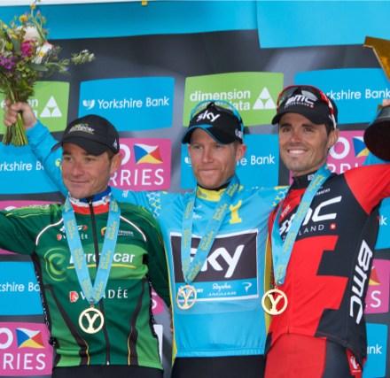 Final GC podium for 2015 Tour de Yorkshire LtoR: Voeckler, Nordhaug & Sanchez - Image ©wwwchrismaher.co.uk   CyclingShorts.cc