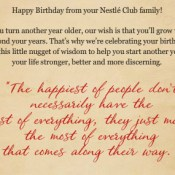 my Nestle birthday message