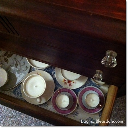 storage in dresser for DIY project supplies