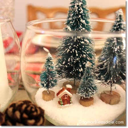 DIY Christmas centerpiece with bottle brush trees and Epsom salt