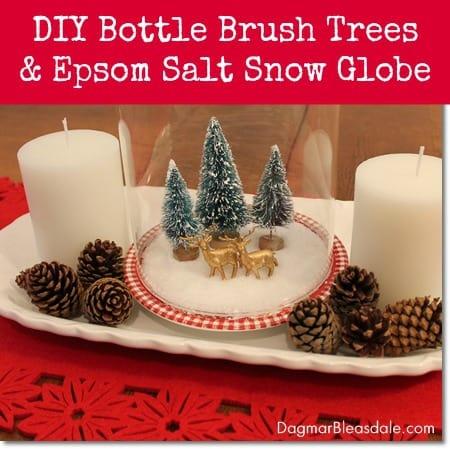 DIY snow globe with Epsom salt and bottle brush trees