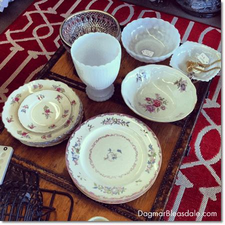 vintage bone china and milk glass items