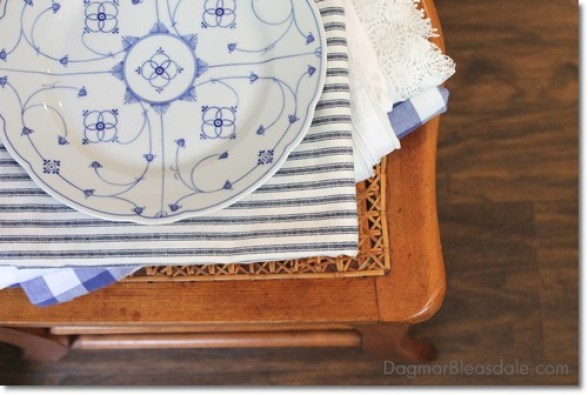 Wordless Wednesday, vintage plate and tablecloth on chair
