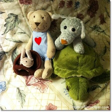 stuffed animals in hotel room