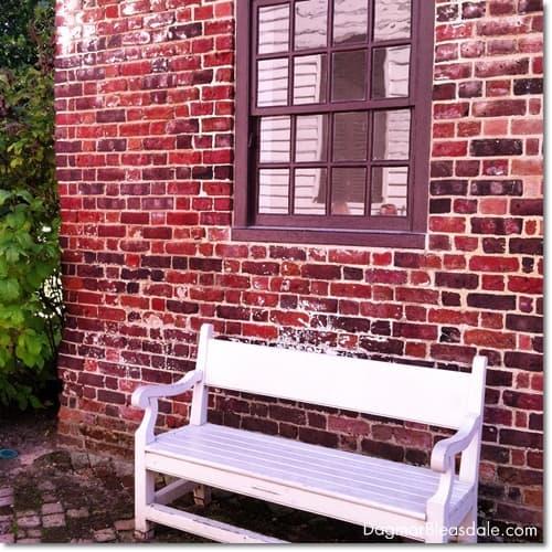 bench in front of brick building, Williamsburg, VA
