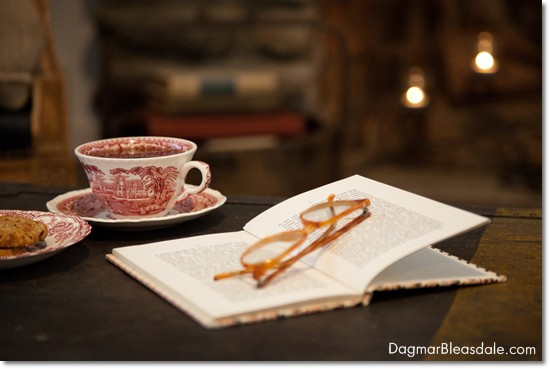 transferware teacup and book with glasses in front of fireplace, DagmarBleasdale.com