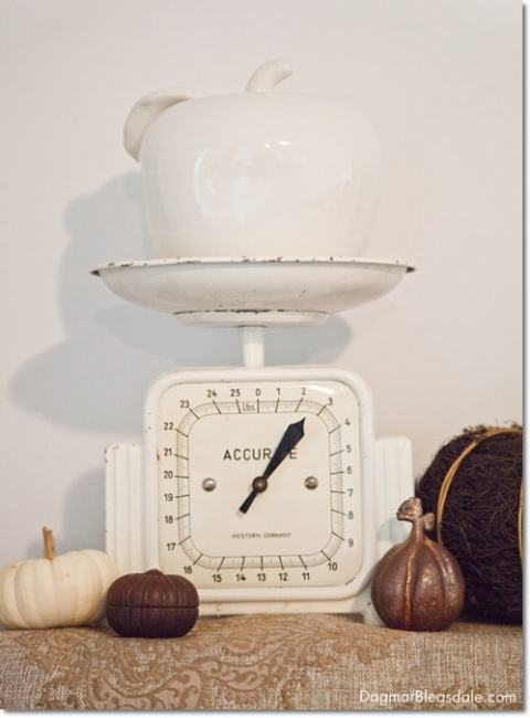 neutral fall mantel with vintage scale