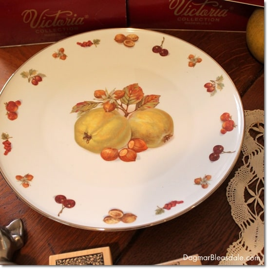 vintage find, German plate with fruit and nuts