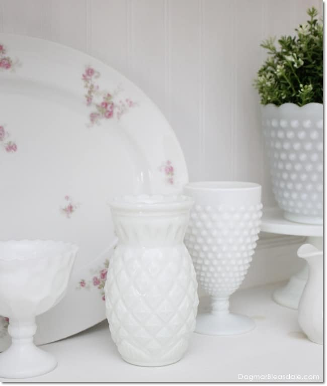 milk glass pineapple vase, DagmarBleasdale.com