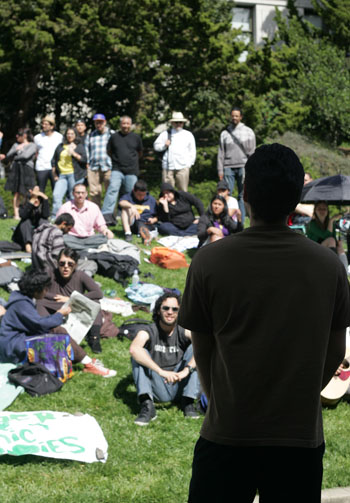 Ethnic studies majors take part in the hunger strike in front of California Hall.