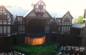 "The Elizabethan Stage, prior to an evening showing of ""Love's Labour's Lost."""