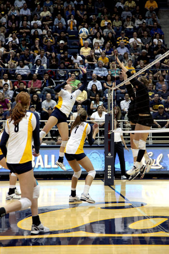 Sophomore outside hitter Adrienne Gehan (5) logged 11 kills against Stanford on Tuesday.