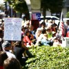 Occupy Berkeley protesters crowded outside of the Bank of America on Shattuck Avenue and Center Street to show support for the Occupy Wall Street movement on Saturday afternoon.