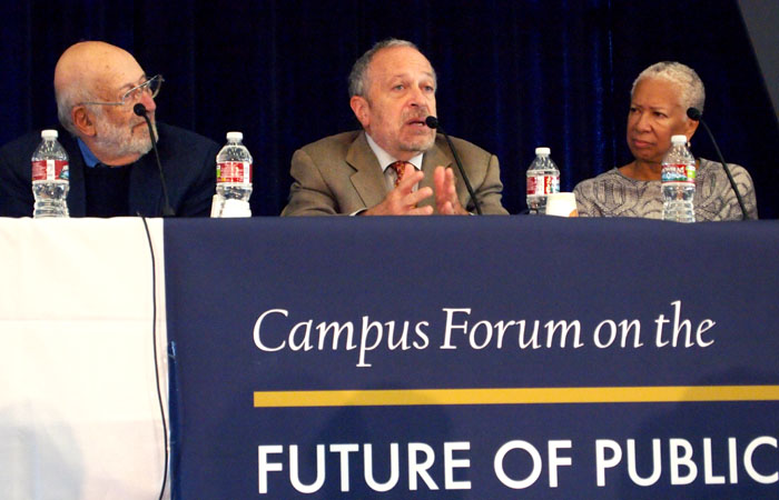 Peter Schrag, Robert Reich, and Angela Glover Blackwell lead the Campus Forum on the Future of Public Universities, Tuesday in the Pauley Ballroom.