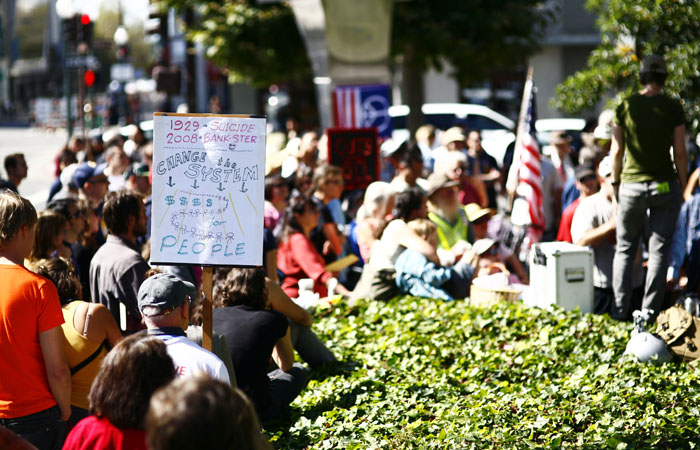 Protesters crowded outside of the Bank of America on Shattuck Avenue in support of the Occupy Berkeley movement.  Occupy Berkeley was created in support of the Occupy Wall Street movement.