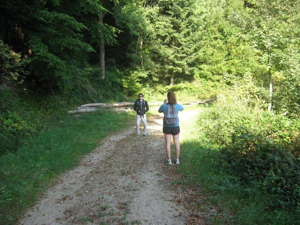 """Desperately searching for a toilet, or """"hiking,"""" near the town of Saint-Étienne, France."""