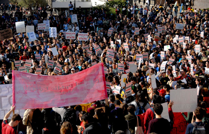 Over a thousand protesters gather on Upper Sproul Plaza for Occupy Cal Day of Action Wednesday.