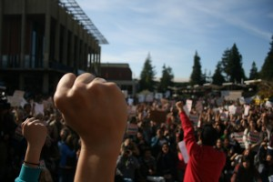 Protesters filled Sproul Plaza Wednesday afternoon for the Nov. 9 Day of Action.