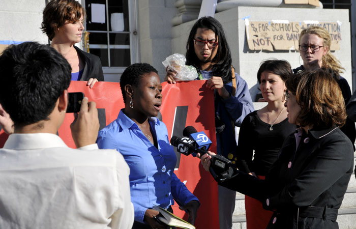 BAMN attorney Monica Smith spoke at Monday afternoon's press conference, where it was announced that a civil suit will be filed against UC Berkeley.