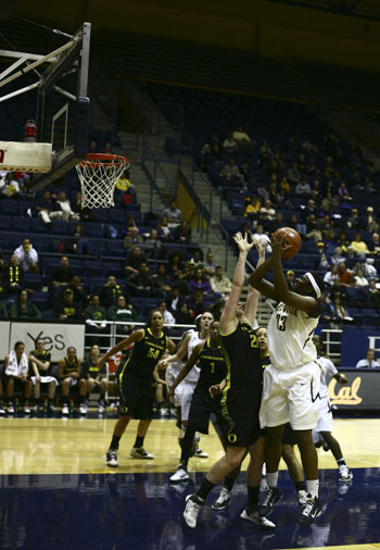 Center Talia Caldwell had 15 points and 13 rebounds in the Bears' win on Saturday.