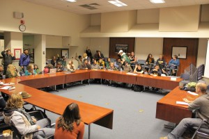 Due to rain, Occupy Cal held their general assembly meeting inside the ASUC Senate Chambers on Friday night. They discussed upcoming plans for the week.