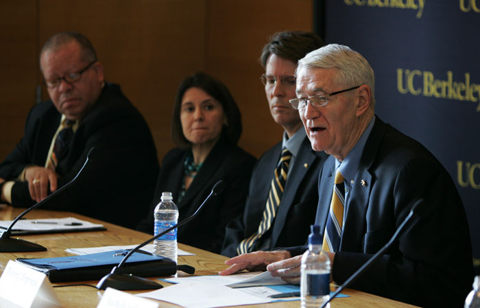 Chancellor Robert Birgeneau, along with other members of the UC Berkeley administration, held a press conference to announce a new financial aid plan targetted at middle class families.