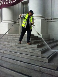 Cleaning crews pressure washed the steps and facade of Sproul Hall on Sunday.