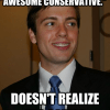 "The Berkeley College Republicans' president, Shawn Lewis, is featured in an online ""College Republican""  meme."