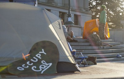 Members of Occupy Cal have moved their tents to the steps of Doe Library.