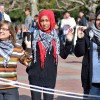 As part of Israeli Apartheid Week, Students for Justice in Palestine stage a mock checkpoint on Sproul Plaza.