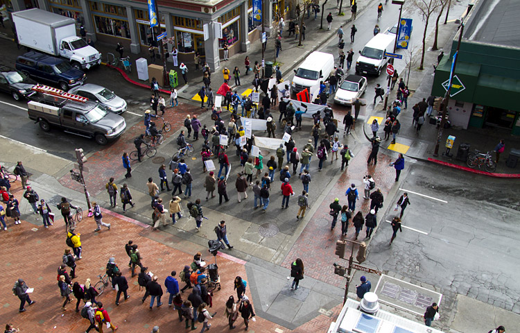 After the noon rally, protesters made their way down Telegraph Avenue toward Oakland.