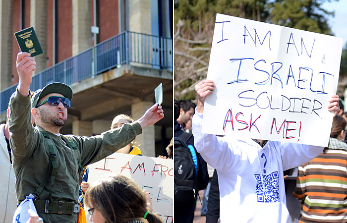Pro-Palestine and Pro-Israel groups square off at a mock checkpoint set up by Students for Justice in Palestine.