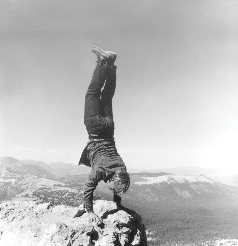 "Robert Kinmont: ""8 Natural Handstands"" 1969/2009 (detail); nine black-and-white photographs; courtesy of Alexander and Bonin, New York."