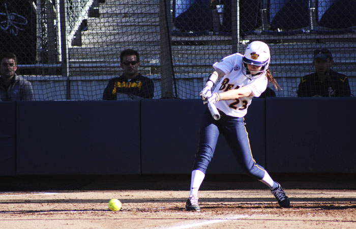 Right fielder Ashley Decker and the Bears blanked the Gaels, 9-0, with at least one run in every inning save the second.