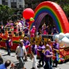 Wells Fargo shows off a colorful float at the Pride parade. Ashley Chen/Staff