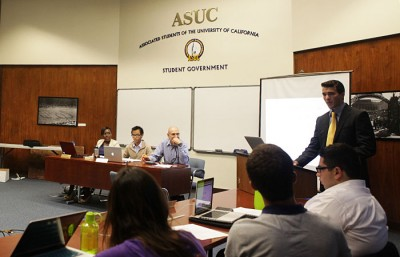 ASUC President Connor Landgraf address the senate chambers during the first ASUC meeting of Fall 2012.