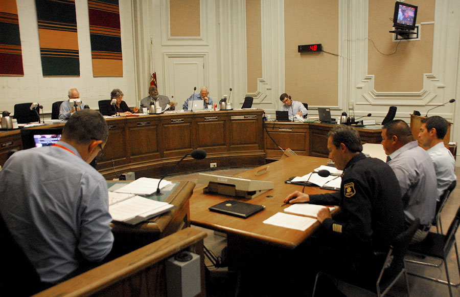 Police Chief Michael Meehan speaks to the city council during their Tuesday meeting.