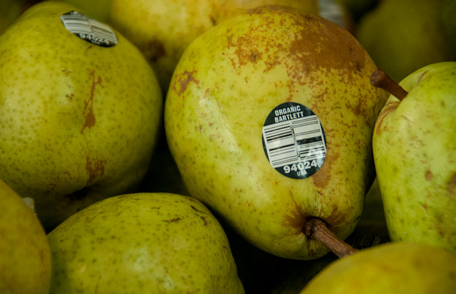 Berkeley Student Food Collective offers organic options, including this Bartlett pear. A recent study published by Stanford states that organic produce is no different than regular produce.