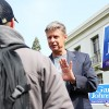Libertarian presidential candidate Gary Johnson speaks to students on Sproul during a meet and great and a rally.