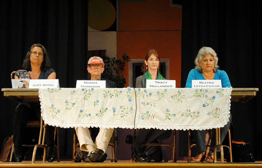School Board candidates Judy Appel, Norma Harrison, Tracy Hollander, and Beatriz Leyva-Cutler sit during a forum at LeConte Elementary School.