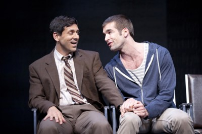 Mickey Marcus (Michael Berresse, left) accompanies his friend Craig Donner (Tom Berklund) to his doctor's appointment in The Normal Heart—playing at A.C.T.'s Geary Theater, Sept. 13 – Oct. 7.