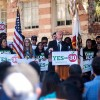 Jerry Brown speaks at a rally for Proposition 30 in UCLA.