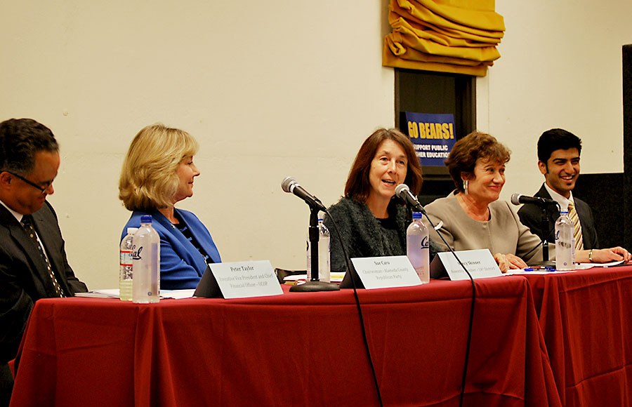 Nancy Skinner speaks at Eshleman Library during debate on Proposition 30.