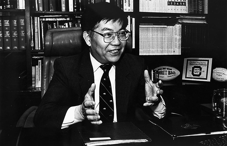 Chang-Lin Tien, UC Berkeley chancellor from 1990-1997, sits in his office.