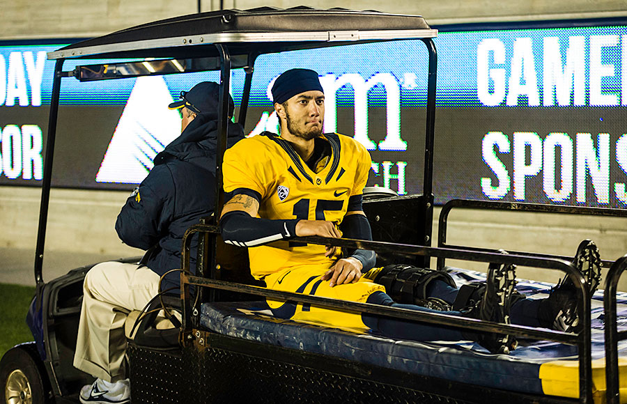Quarterback, Zach Maynard was injured towards the end of the fourth quarter during Friday's game. (Kore Chan/Staff)