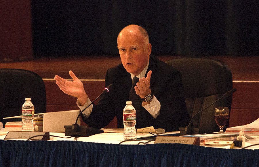 Governor Jerry Brown speaks at a 2012 meeting of the UC Board of Regents at UCSF Mission Bay.